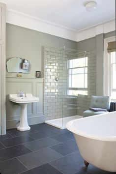 Vintage Look of Traditional Bathroom Design Ideas Grey Bathroom Tiles, Bathroom Paneling, Small Bathroom, Wall Panelling, Bathroom Ideas, Grey Tiles, Master Bathroom, Bathroom Makeovers, Bathroom Colors