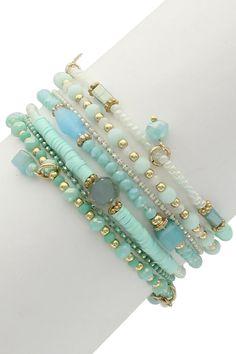 Ariel Beaded Faceted Mint Crystal Multi Strand Bracelet