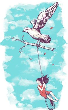 """""""Fly Away""""  ~~  Art illustration by Ohio based artist ~Norman Duenas~"""