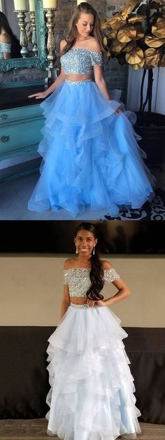 Two Piece Off-the-Shoulder Sweep Train Blue Tulle Prom Dress with Beading Ruffles G429
