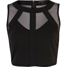 Black mesh panel sleeveless crop top - crop tops / bralets / bandeau tops - tops - women from River Island Clothing. Blouse Patterns, Saree Blouse Designs, Evening Wear Tops, Saree Jackets, Polka Dot Crop Tops, Black Crop Tops, River Island Fashion, Party Tops, Sleeveless Crop Top