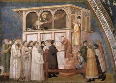 Giotto di Bondone (Italian artist, Raising of the Boy in Sessa, fresco, Lower Basilica of San Francesco d'Assisi, north transept The Rules, Religious Paintings, Religious Art, Italian Painters, Italian Artist, Tempera, Fresco, Siena, St Francis Assisi