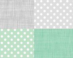 2 Piece Custom Nursery Crib Set...Crib Bumper and Skirt....Mint and Grey Dot Color Weave. $235.00, via Etsy.
