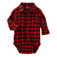 Oshkosh Boys Red/Black Plaid Button Down Bodysuit