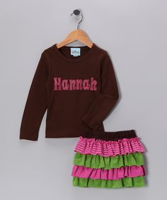 Sweet Petunia Brown Personalized Tee & Ruffle Skirt  #zulily #fall