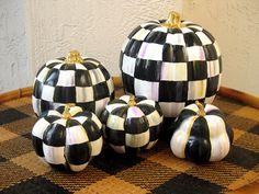 """Faux Pumpkin Black and White checks Fall Decor 9"""" tall"""