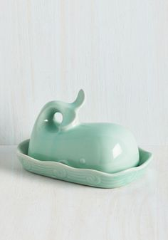 Whales in Comparison Butter Dish