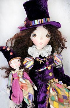 Купить Фиолетовое настроение - тёмно-фиолетовый, авторская ручная работа, авторская кукла, коллекционная кукла
