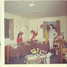 1960s College Sorority Girls In Dorm Room Cheerleader Pom Poms Baloons Vintage Color Photo Photograph. $5.99, via Etsy.