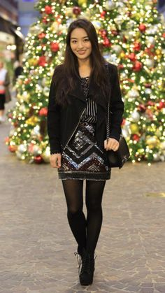 """Spreading Some Serious Christmas Cheer -  As first seen on blog """"Sensible Stylista"""" here: Spreading Some Serious Christmas Cheer  She is wearing tights similar here: Black Opaque Tights Our luxurious ribbed tights have a durable-yet-elasticized 70 denier control top with a cotton lined diamond gusset for a more comfortable and flattering fit. Known to hold you in and smooth you out the shape-retaining nylon blend and super soft 60 denier microfiber leg come together to create the most…"""