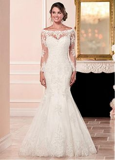 Delicate Tulle Off-the-shoulder Neckline Mermaid Wedding Dresses With Lace Appliques