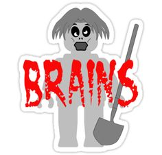 """""""Zombie Minifig """"BRAINS"""" by Customize My Minifig"""" Stickers by ChilleeW 