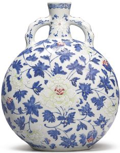 """(Qing) Famille Rose. A rare Famille Rose """"Peony"""" Moonflask. Qing dynasty. ca 18th-19th century CE."""