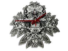Skull Mirror Wall Clock - LaserSmith