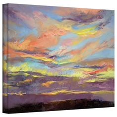 Michael Creese 'Atahualpa Sunset' gallery-wrapped canvas is a high quality canvas print depicting a breathtaking Atahualpa sunset in the artist's signature vibrant, oil impasto style. This piece will