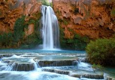 Havasu Falls – Grand Canyon Arizona – USA Located on the Havasupai Indian Reservation in Grand Canyon National Park, Havasu Falls stand 120 feet high. The falls claims one of America's most beautiful campgrounds and backpacking area. Grand Canyon Arizona, Havasu Falls Arizona, Havasupai Falls, Arizona Usa, Havasupai Arizona, Havasupai Waterfalls, Scottsdale Arizona, Grand Canyon Waterfalls, Arizona Waterfalls