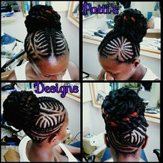 Cornrow style and faux bun