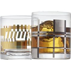 platinum plaid double old-fashioned glass in drinkware | CB2 $9
