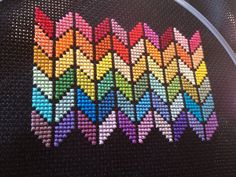 Rainbow chevron cross stitch on black, You can create really particular styles for materials with cross stitch. Cross stitch designs may nearly surprise you. Cross stitch beginners may make the designs they desire without difficulty. Cross Stitch Bookmarks, Mini Cross Stitch, Cross Stitch Borders, Cross Stitch Flowers, Cross Stitch Designs, Cross Stitching, Cross Stitch Embroidery, Embroidery Patterns, Cross Stitch Patterns