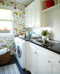 Intricate chinoiserie-style wallpaper turns the hardworking laundry room from utilitarian to charming. | Photographer: Angus Fergusson | Designer: Sarah Richardson and Natalie Hodgins