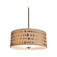 Amazon.com: Modern Drum Shade Pendant Light in Bronze Finish: Lamps & Light Fixtures