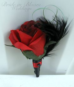 Red Rose boutonniere | Boutonniere silk red rose black feather groomsmen groom wedding ...