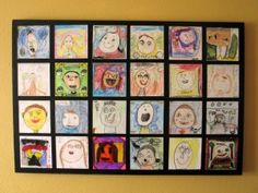 Kid art, self portraits. This is just the cutest idea.  You would need to include the date.