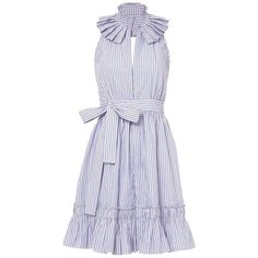 Alexis Women's Briley Stripe Mini Halter Dress ($585) ❤ liked on Polyvore featuring dresses, stripe, v-neck dresses, v neck dress, blue and white striped dress, cotton dress and halter dress