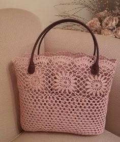 deri saplı tığ işi kolalı el çantası modeli - Kadın, Giyim, Moda, Sağlık,