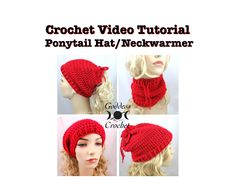 Free Crochet Video Tutorial - Convertible Ponytail Hat Neck Warmer