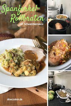 Spanferkel-Braten mit Schwarzbiersauce Slow Cooking, Pet Water Fountain, Kitchenware, All You Need Is, Crock, Oven, Pumpkin, Chicken, Meat