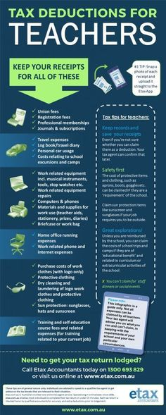 Tax Deductions for Teachers - Infographic of Teacher tax deductions Australia Teacher Organization, Teacher Tools, Teacher Hacks, Teacher Resources, Teacher Stuff, Organization Ideas, Math Teacher, Being A Teacher, English Teacher Classroom