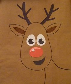 Pin the nose on Rudolph game example for Toddler Party. We played this today with the daycare kids!
