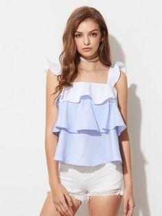 d84131719a Contrast Ruffle Strap Layered Striped Pinafore Top Ruffle Image, Shirt  Style, Romwe, Shirt