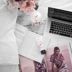 working from bed today #beauty #flatlay #marble #macbook
