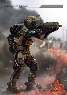 ArtStation - Near future soldier, Alexander Sorokin Futuristic Armour, Futuristic Art, Powered Exoskeleton, Tactical Armor, Arte Robot, Military Special Forces, Future Weapons, Future Soldier, Sci Fi Armor
