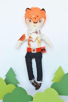 mask fox boy / Cloth Doll by Mandarinas De Tela #MandarinasDeTela www.mandarinasdetela.etsy.com