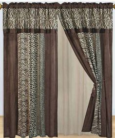 With Love Home Decor - Safari Curtains 2 x Panels 60x84ea. with Valance