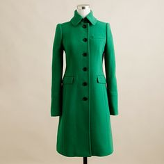 J. Crew oasis green double-cloth metro coat @Valerie Campbell...it's gorgeous, but it's still $298!