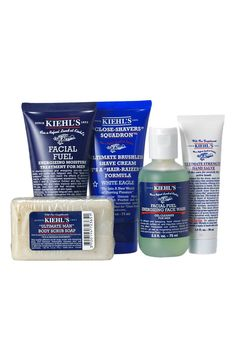 Father's Day Gift Ideas: Perfect starter kit: Kiehls since 1851 Male Grooming, Men's Grooming, Kiehl's Since 1851, Perfume, Face Wash, Starter Kit, Body Scrub, Fathers Day Gifts, Skin Care Tips