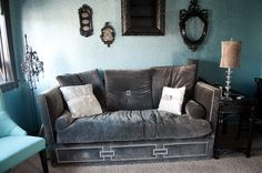 This couch is velvet grey with diamond bling all over it. This is such a unique piece. we would let it go for this is a very large piece Antique Furniture For Sale, Love Seat, Bling, Velvet, Couch, Diamond, Antiques, Grey, Room