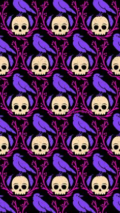 Crows skulls Crow on skull Halloween spooky cute creepy purple pink repeat pattern patterns surface design designs wallpaper backgrounds macabre whimsical magical Casper spell (www.casperspell.com)