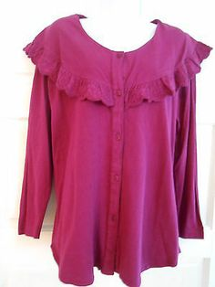 womans top shirt tunic button front sz m purple work office casual
