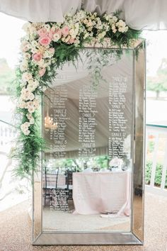Posy, MMJ Events, Style & Story Creative, Columbus Ohio  Blush wedding, modern, black and white wedding, tented wedding,  seating chart mirror, floral garland