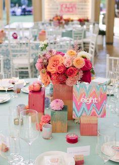 bright wedding centrepieces