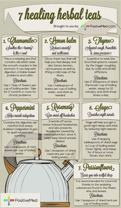 Description and uses (including directions) of 7 Healing Herbal Teas [Infographic] as natural remedy for some common ailments