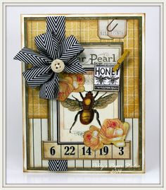 Bee and Button Card Greeting Card Handmade by PollysPaper on Etsy, $8.00
