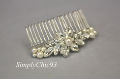 Bridal Hair Comb, Pearl Comb, Crystal Comb, Swarovski Comb,Clustered Pearls, Vintage comb, Hair Flower, Wedding Accessories by simplychic93 on Etsy