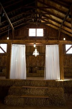 retractable shower curtain rod for the barn entry way for bride and groom entry! YES