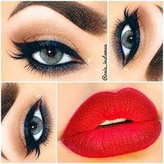 21 Red Lip Makeup Ideas Rote Lippen Make-up Ideen Gorgeous Makeup, Love Makeup, Makeup Tips, Makeup Looks, Makeup Ideas, Glamorous Makeup, Makeup Trends, Makeup Geek, Retro Makeup